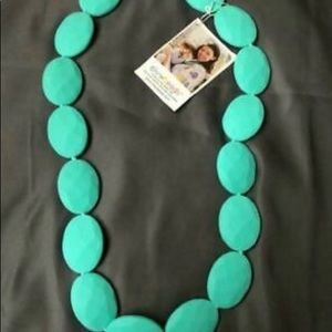 Chew Bead Necklace Turquoise Oval Silicone Beads